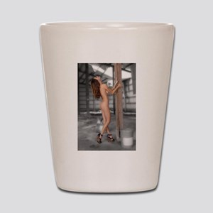 Beautiful Nude Brunette in an Abandoned Shot Glass