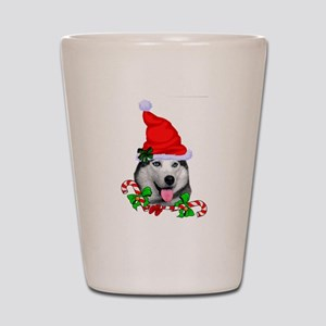 Siberian Husky Christmas Shot Glass