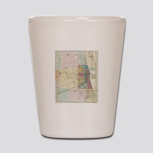 Vintage Map of Chicago (1869) Shot Glass