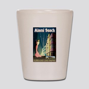 Miami Beach Art Deco Railway Print Shot Glass