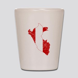 Peru Flag And Map Shot Glass