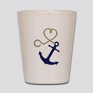 Blue Anchor with Heart Rope Shot Glass