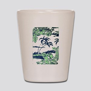 Tropical Beach Hibiscus Palm Style Shot Glass