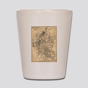 Vintage Battle of Bull Run Map (1886) Shot Glass