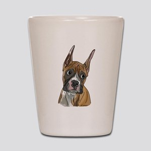 Perky Boxer Dog Portrait Shot Glass