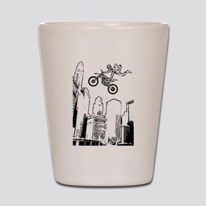 dirt biker cityscraper Shot Glass