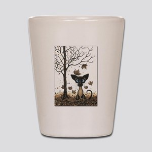 Fall Feline Shot Glass