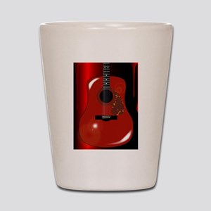 Red Acoustic Guitar Background Shot Glass