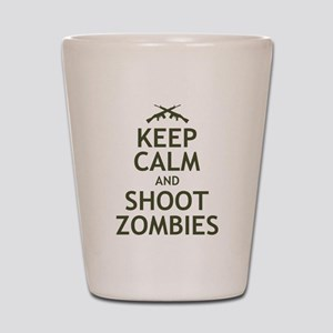Keep Calm and Shoot Zombies Shot Glass