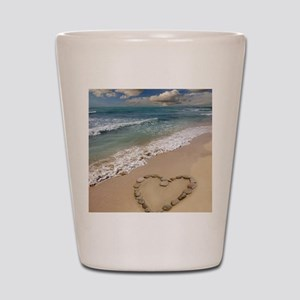 Heart-shape on a beach Shot Glass