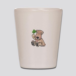 Wheaten with 4 leaf clover Shot Glass