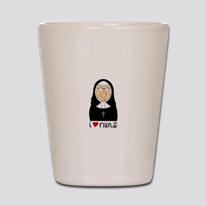 I Love Nuns Shot Glass