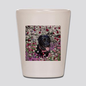 Abby the Black Lab in Flowers Shot Glass