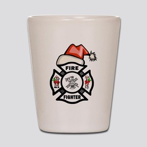 Firefighter Santa Shot Glass
