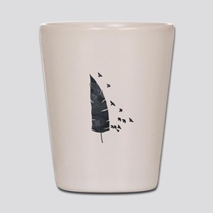 Black Feather And Birds Shot Glass