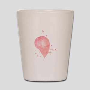 Pink Feather And Birds Shot Glass