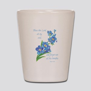 Forget Me Not Flowers with Scripture Shot Glass