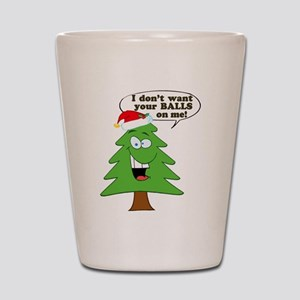 Funny Merry Christmas tree Shot Glass