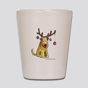 Wheaten terrier with Christmas Antlers Shot Glass