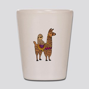Cute Sloth Riding Llama Shot Glass