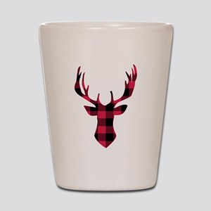 Winter Plaid Deer Shot Glass