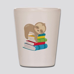Cute Sloth Books Shot Glass