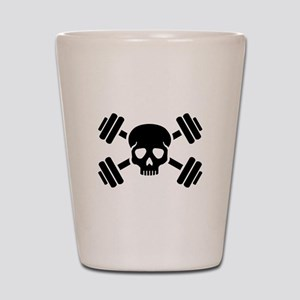 Crossed barbells skull Shot Glass