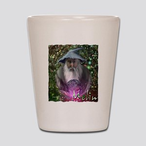 merlin the magician art illustration Shot Glass