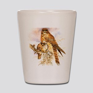 "Birds and Young ""Kestrels"" Peter Bere D Shot Glass"
