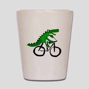 Alligator Riding Bicycle Shot Glass