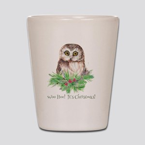 Woo Hoo its Christmas ! Cute Owl Bird H Shot Glass