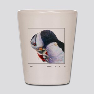 Gone Fishin - Puffin with fish Shot Glass