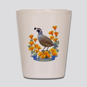 California Quail and Golden Poppy Shot Glass