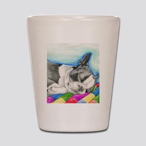 Sleepy Boston Terrier Shot Glass