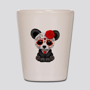 Red Day of the Dead Sugar Skull Panda Shot Glass