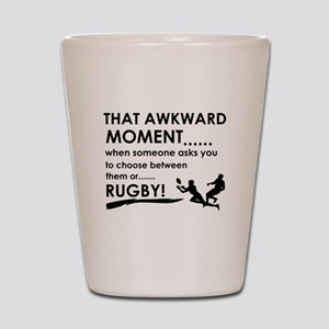 Awkward moment rugby designs Shot Glass