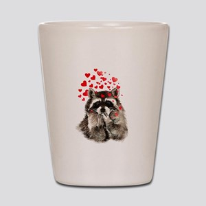Raccoon Blowing Kisses Cute Animal Love Shot Glass