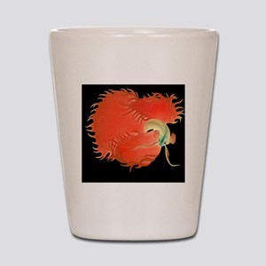 Flaring Red Betta Fish Shot Glass