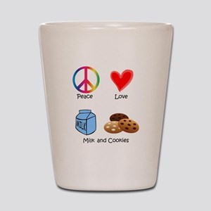 Peace Love Milk and Cookies Shot Glass