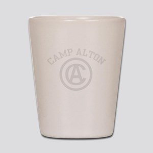 camp alton shirt logo white letters Shot Glass