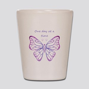 One Day at a Time Quote Butterfly Art Shot Glass