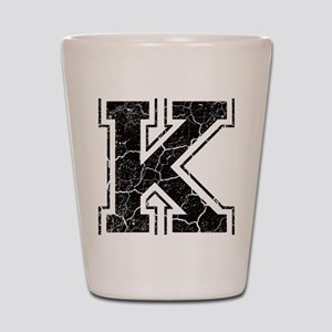 Letter K in black vintage look Shot Glass