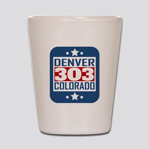 303 Denver CO Area Code Shot Glass