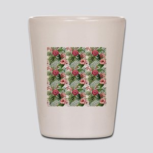 Watercolor Tropical Flowers Pattern Shot Glass