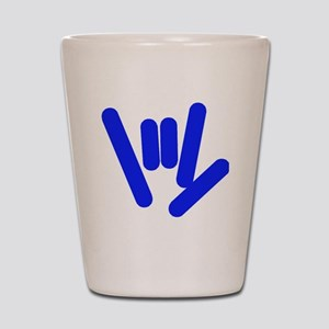 asl_hand_blue Shot Glass