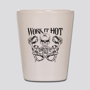 work it hot Lineman logo 1 Shot Glass