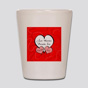 Red Two Hearts Engaged 2012 Shot Glass