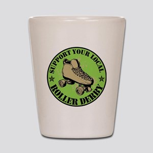 Support Roller Derby Green Shot Glass