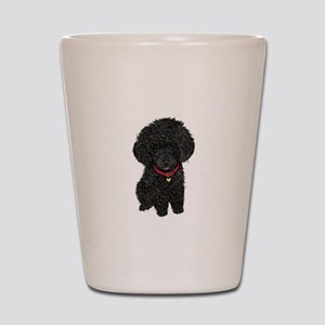 Poodle pup (blk) Shot Glass