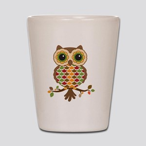 Owl with fall colors Shot Glass